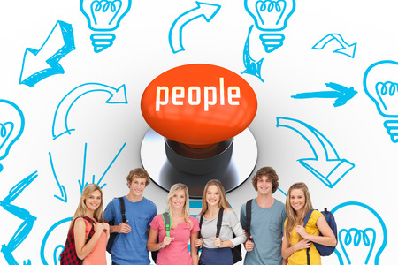 push people: The word people and smiling group with backpacks on as they smile against orange push button
