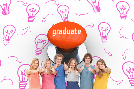 push button: The word graduate and a group smiling and giving the thumbs up against orange push button Stock Photo