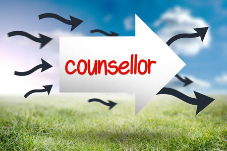 counsellor: The word counsellor and arrow against sunny landscape Stock Photo