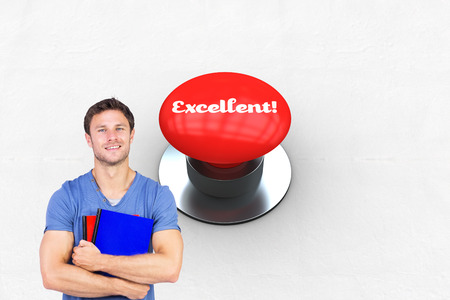 to acclaim: The word excellent! and smiling man looking at camera against digitally generated red push button