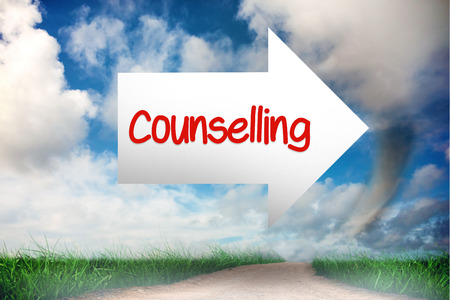 counselling: The word counselling and arrow against road leading out to the horizon