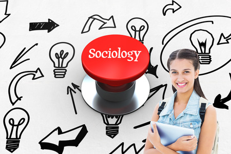 sociology: La palabra sociología y estudiante de la celebración de Tablet PC contra pulsador rojo generada digitalmente