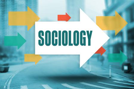 sociologia: La palabra sociología y flechas contra nueva calle york