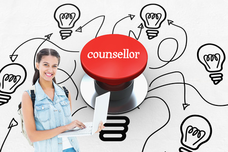 counsellor: The word counsellor and student using laptop against digitally generated red push button