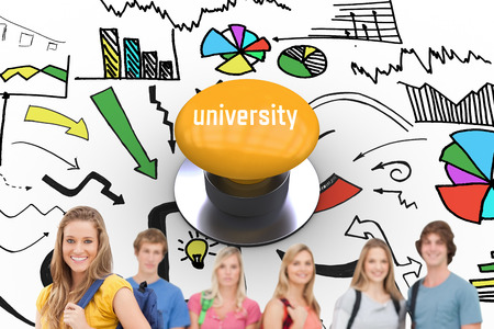 university word: The word university and a woman standing in front of his friends as she smiles against yellow push button