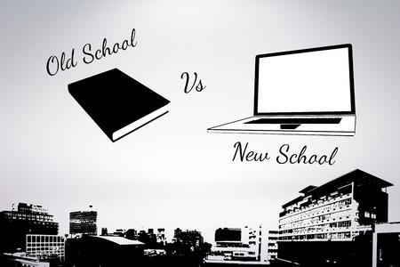 old school vs new school  against grey background Stock Photo