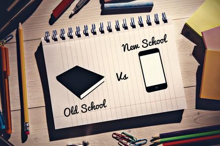 old desk: old school vs new school  against students desk Stock Photo