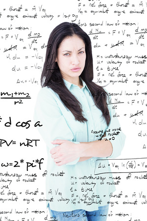 restless: Serious woman looking at camera against rocket science theory