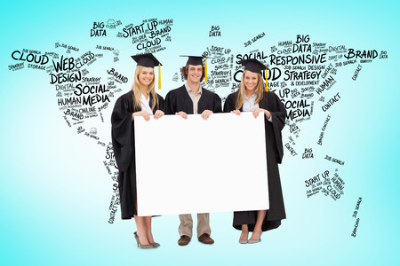 academic robe: Three students in graduate robe holding a blank sign against blue vignette background