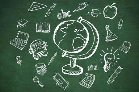 green chalkboard: Education doodles against green chalkboard
