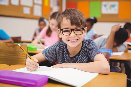 교육: 초등학교에서 수업 시간에 자신의 책상에서 작업하는 어린 소년 스톡 콘텐츠