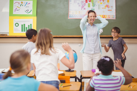 Pupils running wild in classroom at the elementary school