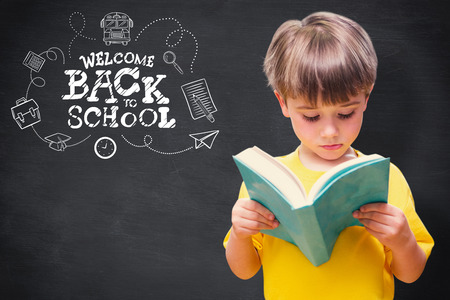the pupil: Pupil reading book against blackboard