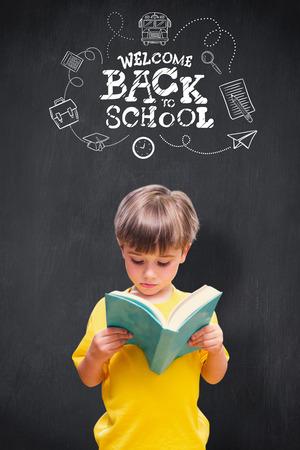 pupil: Pupil reading book against blackboard