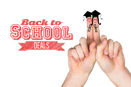 posed: Fingers posed as students against back to school deals message Stock Photo