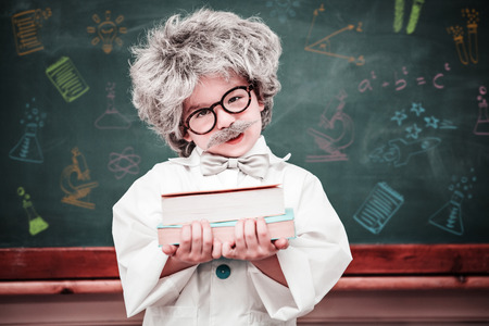 dressed up: School subjects doodles against dressed up pupil holding books