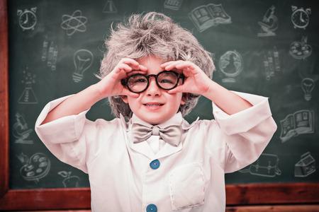 peruke: School doodles against pupil wearing peruke and eyeglasses