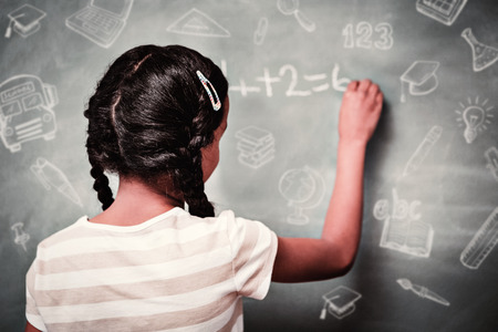 school class: Education doodles against rear view of little girl writing on blackboard