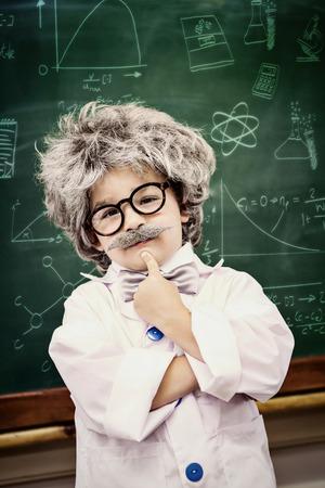 peruke: Math and science doodles against pupil wearing peruke and eyeglasses Stock Photo