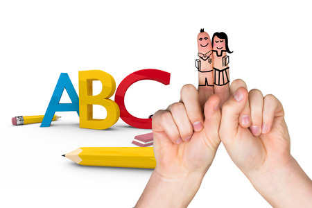 posed: Fingers posed as students against abc graphic Stock Photo