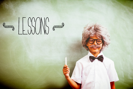 lindo: The word lessons against boy dressed as senior teacher in front of blackboard
