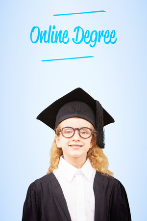 academic robe: The word online degree and cute pupil in graduation robe   against blue vignette background Stock Photo