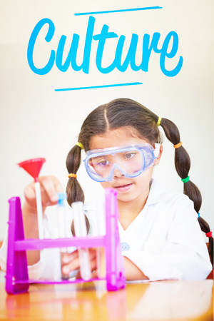 make believe: The word culture against cute pupil dressed up as scientist in classroom