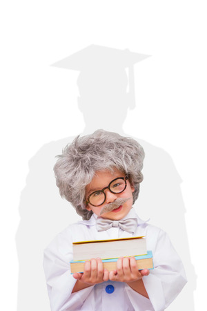 dressed up: Dressed up pupil holding books against silhouette of graduate Stock Photo