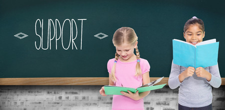 kid book: The word support and elementary pupils reading against teal