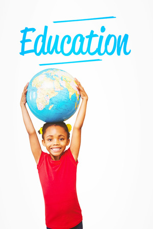 planeta tierra feliz: The word education and pupil holding globe against white background with vignette Foto de archivo