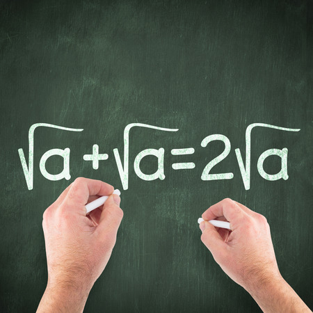 square root: Hand writing with chalk against green chalkboard Stock Photo