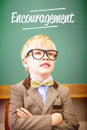 make believe: The word encouragement against cute pupil dressed up as teacher in classroom
