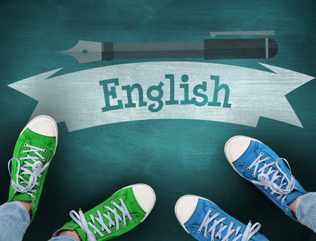 buzzword: The word english and casual shoes against green chalkboard Stock Photo