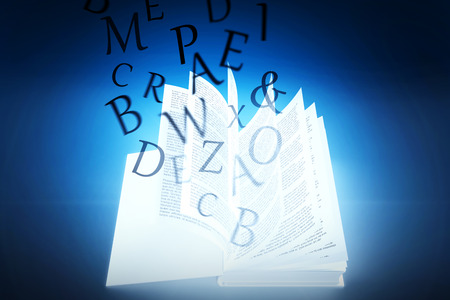 literate: letters against blue background with vignette