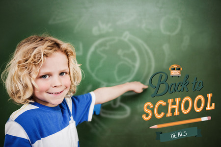 pupil: back to school against cute pupil pointing