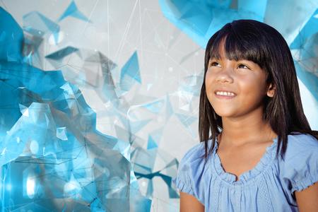 angular: Cute little girl against angular design