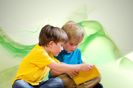 pupils: Pupils reading book against green abstract design