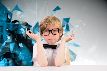 pupil: Cute pupil looking confused against angular design Stock Photo