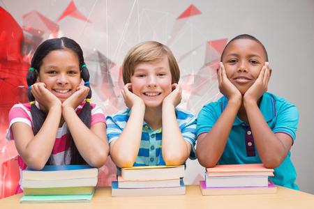 bookshelf digital: Cute pupils looking at camera in library  against angular design