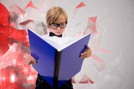 abstract academic: Cute pupil reading  against angular design