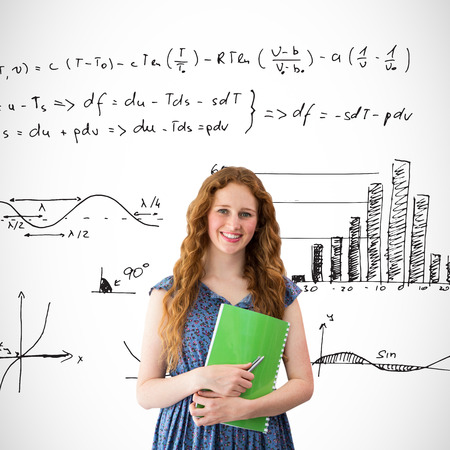 equations: Happy student against maths equations Stock Photo