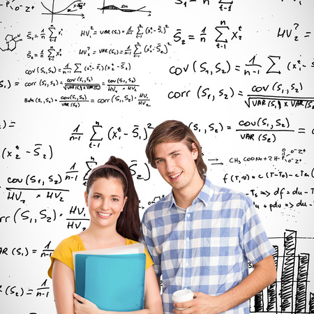 equations: Smiling students against maths equations Stock Photo