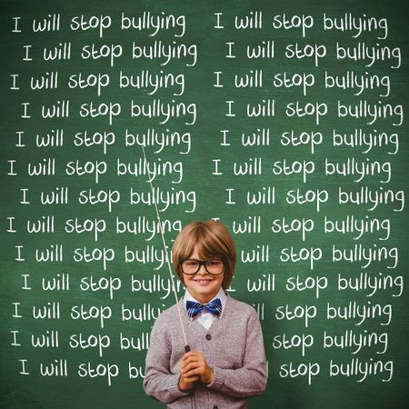 make believe: Cute kid dressed up as teacher against green chalkboard Stock Photo