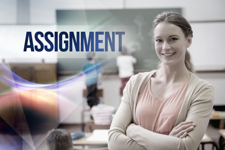 assignment: The word assignment against pretty teacher smiling at camera at back of classroom