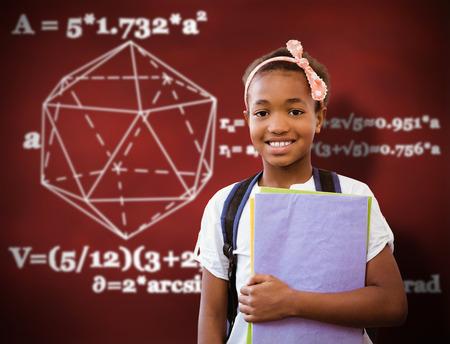 cute graphic: Little girl holding folders in school corridor against desk
