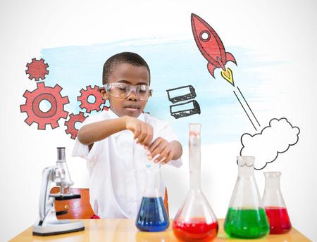 Cute žák hrající vědec proti bílému pozadí s viněta