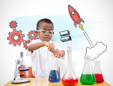 digital school: Cute pupil playing scientist against white background with vignette
