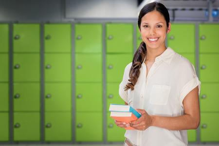 locker room: Happy student against locker room