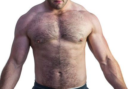 no shirt: Strong bodybuilder with no shirt on white background Stock Photo