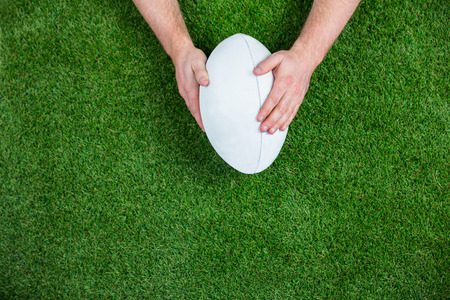 rugby: Rugby player scoring a try on astro turf grass Stock Photo